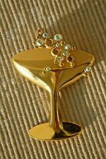 Vintage 1970s JJ Champagne Toast - Martini Glass Large Crystal Brooch Pin