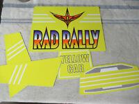 yellow  car original  SEGA rad rally sticker set  ARCADE GAME ART