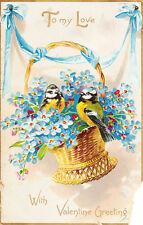 Tuck Postcard Valentine Series 11, Floral Missives Birds in Flowers Basket c1910