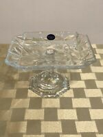 Crystal Footed Square Serving Small Plate - Floral Embossed - SOGA Japan