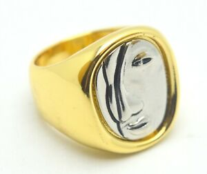 925 STERLING SILVER DESIGNED ART FACE RING 18K GOLD PLATED
