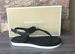 Women Size 10 MK Michael Kors Brady Thong Sandals Black Tumbled Leather NEW
