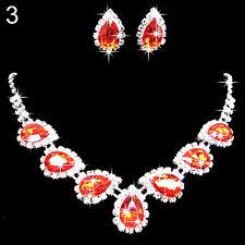 Prom Wedding Bridal Crystal Rhinestone Waterdrop Necklace Earring Jewelry Set