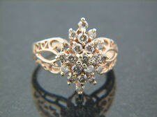 1.0 carat Diamond Cocktail Ring Cluster style marquee shaped14K Gold vintage