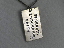 STRENGTH ENDURANCE FAITH~18 inch Gunmetal Chain~INSPIRATIONAL NECKLACE