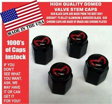 4 Billet Aluminum Mazda Evil M Mazdaspeed 3 5 6 Valve Stem Air Caps Black/Red