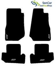 TAPIS JEEP WRANGLER JK SUR MESURE, broderie : Jeep blanc + 4 Fixer Compatible