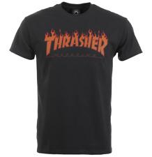 Thrasher Mag Halftone Flame Logo Black Short Sleeve T-Shirt Size M