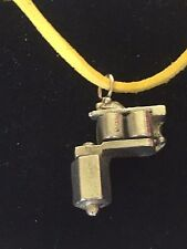 "Tattoo Gun TG55 Fine English Pewter On 18"" Yellow Cord Necklace"