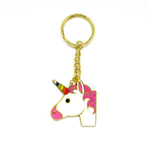 Magical Metal Enamel Unicorn Keyring Girls Key Ring Bag Pendant Keychain UK