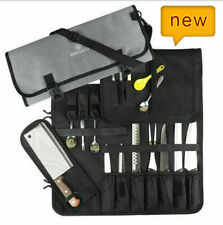15 Slots Chef Knifes Cutlery Roll Bag Kitchen Cooking Tools Storage Cases Canvas