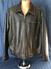 Eddie Bauer Mens Brown Heavy leather Front Zipper Lined Coat Size XL (50)