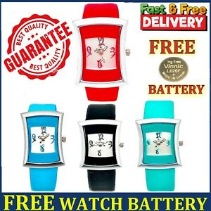 Ladies Womens Watches Casual Party Rectangle Leather Strap Analogue Girls Watch
