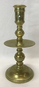 Antique 18th or 19th Century Brass Dutch Heemskerk Wide Mid Drip Pan Candlestick