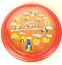 """The Simpsons 2000 Wall Clock Characters Red Plastic 10"""" Working"""