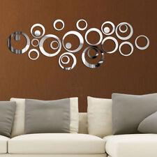 24 3D Kreise Spiegel Wandaufkleber Wandtattoo Wandsticker Selbstklebend Deko