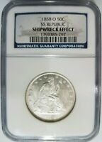 1858 O SS Republic Seated Liberty Half Dollar NGC Shipwreck Silver Treasure Coin