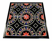 24 Inches Black Coffee Table Top Marble Stone Center Table with Marquetry Art
