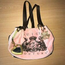 JUICY COUTURE PINK TOWELLING BROWN LEATHER KEY CHARM MIRROR BAG