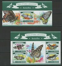ML651 2015 MALDIVES FAUNA INDIAN SUBCONTINENT INSECT BUTTERFLIES KB+BL MNH