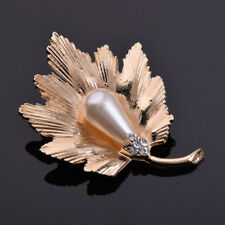 Elegant Fashion Pearl Wedding Bridal Maple Leaf Brooch Women Gift Accessories