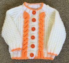 Handmade Babies Aran Cardigan White and Orange (3-6) months