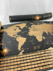 Scratch Off World Map Poster,Deluxe United States Map Includes All Country Flags