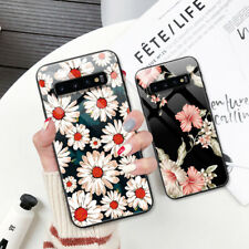 For Samsung Galaxy S9 Plus S10 S9+ Case Tempered Glass Back Cover Flowers Skins