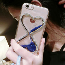 Bling Glitter Quicksand Hourglass Soft Back Phone Dynamic Cover Case & strap M2