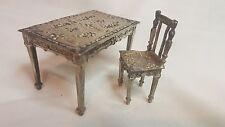 Ornate German Hanau silver miniature desk & chair