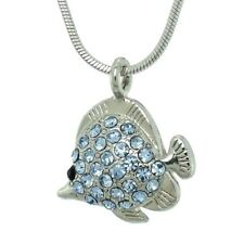 "FISH Made With Swarovski Crystal Blue Aquarium Sea Ocean Gift Necklace 18"" Chain"