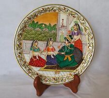 White Marble Plate Man and Women India Art Hand Painted with Box