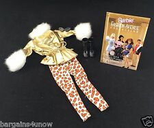Avon Barbie Fashions~Gold Ski Jacket Fur Collar~Leopard Leggings~Accessories NEW