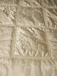 Princess Ruffled Victorian Comforter Regency French Ivory Embroidered Never used