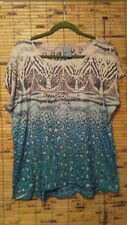 NEW DIRECTION SZ L PEACH/TURQUOISE MULTI CHEETAH PRINT STUDDED TOP