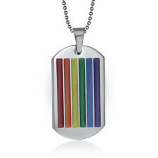 Gay Pride Rainbow Necklace Lesbian Chain And Pendant LGBT Trans Stainless Steel