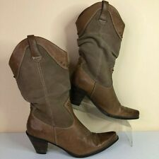 Bass Caspian Brown Leather-Suede Pull On Western Mid Calf Boot Womens 8M