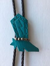 Bolo Tie With Turquoise Cowboy Boot Leather Western Embellished w/Beads
