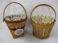 2 Longaberger Spring Easter Picket Pail Basket & Woven Basket (CI)