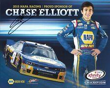 2015 Chase Elliott NAPA Auto Parts Champ NASCAR Signed Auto 8x10 Post Hero Card
