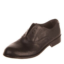 Rrp €225 Brawn'S Leather Slip On Shoes Size 42 Uk 8 Us 9 Openwork Made in Italy