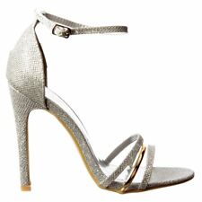 Womens Ankle Strap Mid Heels Party Sandals Peep Toe Shoes Black Gold Silver Nude