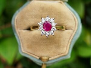 Vintage 18ct Ruby And Diamond Ring size M 1/2 or U.S 6.5