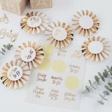 Gold Foiled Oh Baby Shower Badges Stickers Rosette Mum to Be Party Badges - Pk 6