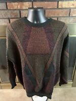Vintage Saved By The Bell Cosby 90s Sweater Geometric Mens Sz Large Leather Vtg