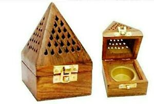 Wooden Pyramid Cone/Charcoal Burner Net Carving Elegant Gifts + 4 Cones Free