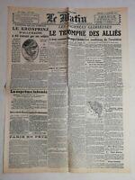 N989 La Une Du Journal Le Matin 13 novembre 1918 le triomphe des alliés