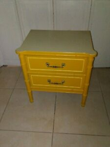 Vintage Hollywood Regency Henry Link Nightstand Two Drawer Yellow Color