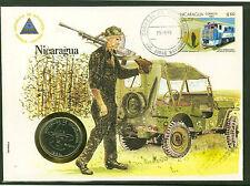 NICARAGUA Numisbrief mit bankfrischer 1 CORDOBA Münze 1984,Rückseite UNO-Flaggen