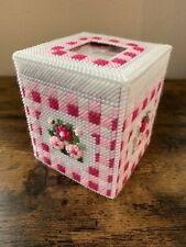 Handmade Needlepoint Plastic Canvas Tissue Box Cover - Pink Floral Gingham